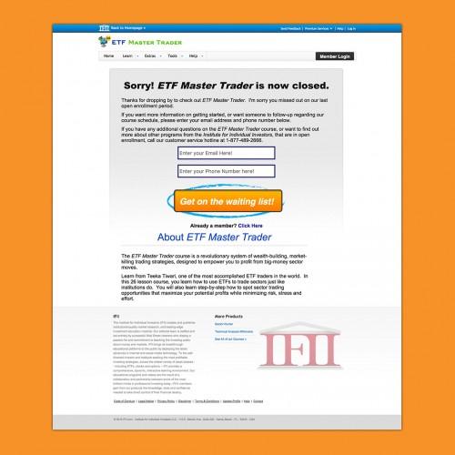 www.etfmastertrader.com Landing Page Design