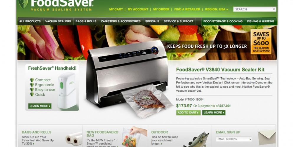www.foodsaver.com website concept