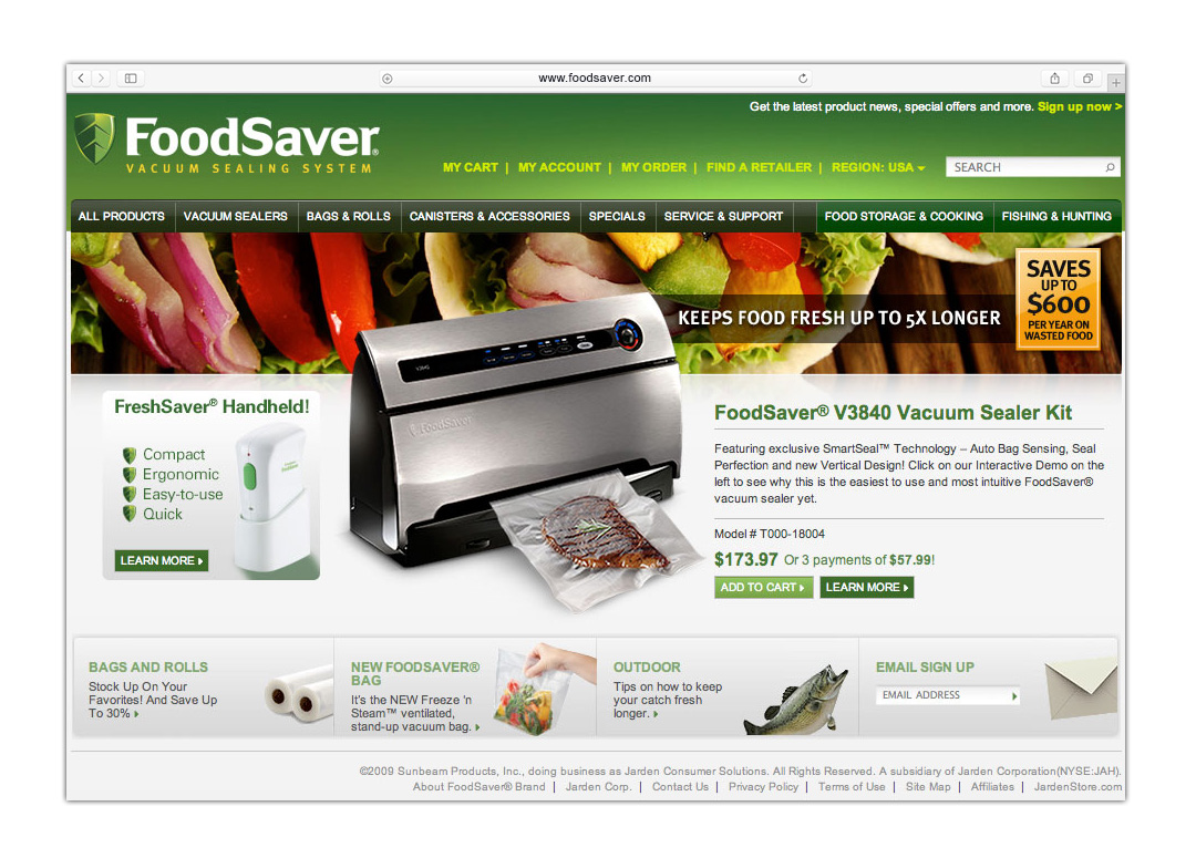 www.foodsaver.com website concept