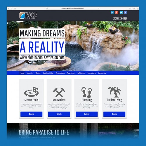 orlandopools by design website design