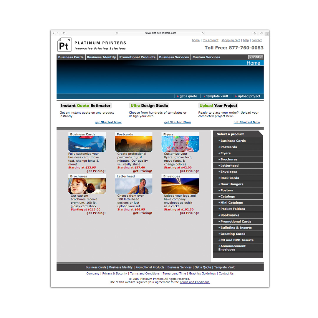 www.platinumprinters.com website